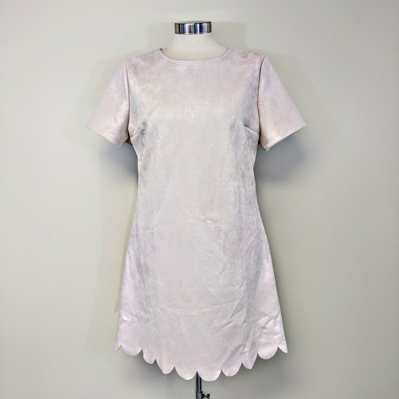 Dresses & Skirts - Pink Suede Scallop Hem Dress